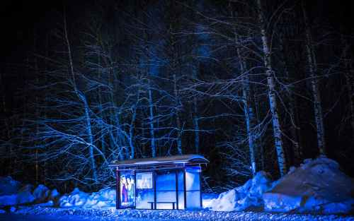 photography of bus stop during winter